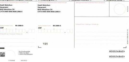 Bild Einzahlungsschein rot für Steueramt